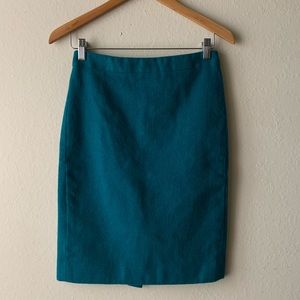 J Crew No. 2 Pencil Skirt Wool Green 0